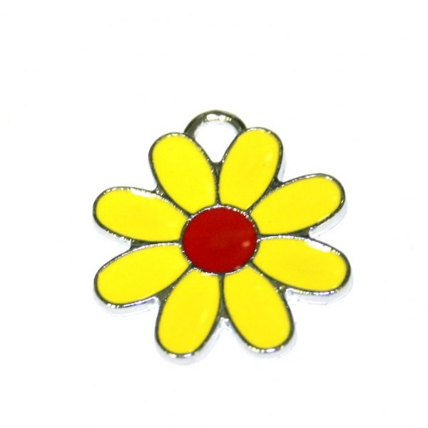 1 x 22*22mm rhodium plated yellow daisy with red bud enamel charm - SD03 - CHE1283